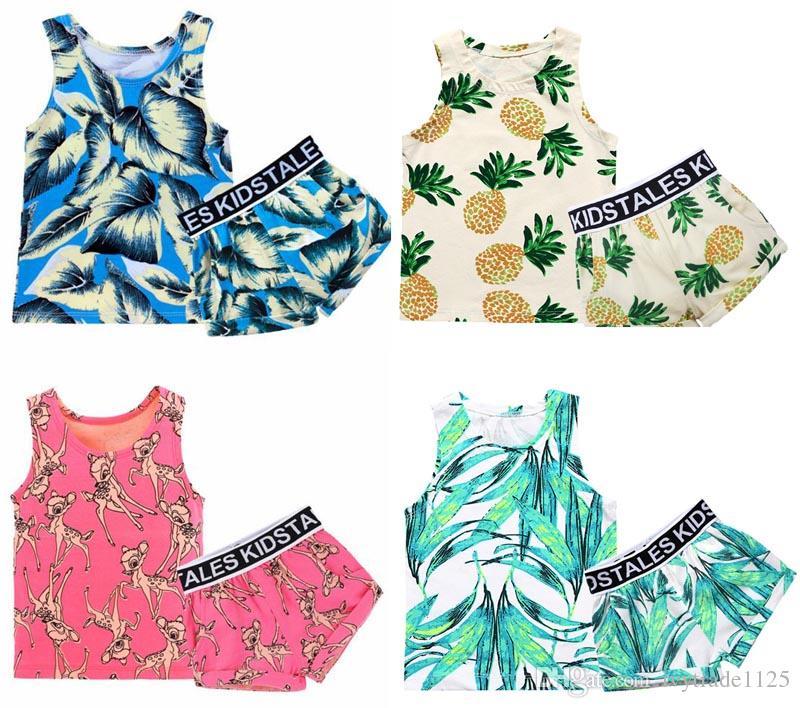 2df7294e4 2019 INS New Baby Boy Girl Clothing Sets 100%Cotton Sleeveless Cartoon  Flower Banana Deer Print Boy Set Summer Boy Elegant Casual Set From  Ivytrade1125, ...