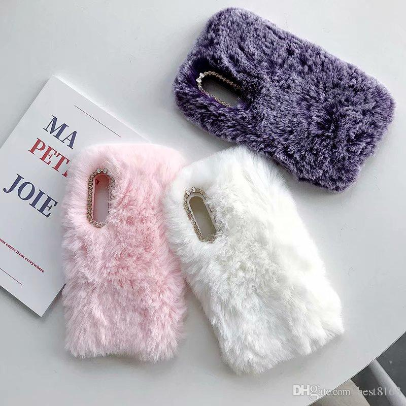 For Galaxy S10 Plus S10e Lite A6S Huawei P30 Pro Bling Diamond Genuine Rabbit Hair Plush Case Velvet Fur Girl Soft TPU Cute Fuzzy Gel Cover