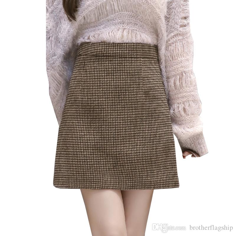 b49edaac65 2019 Women'S Woolen Mini Skirts Autumn Winter Vintage Plaid A Line Above  Knee Short Skirt High Waist Slim Fashion Faldas From Brotherflagship, ...
