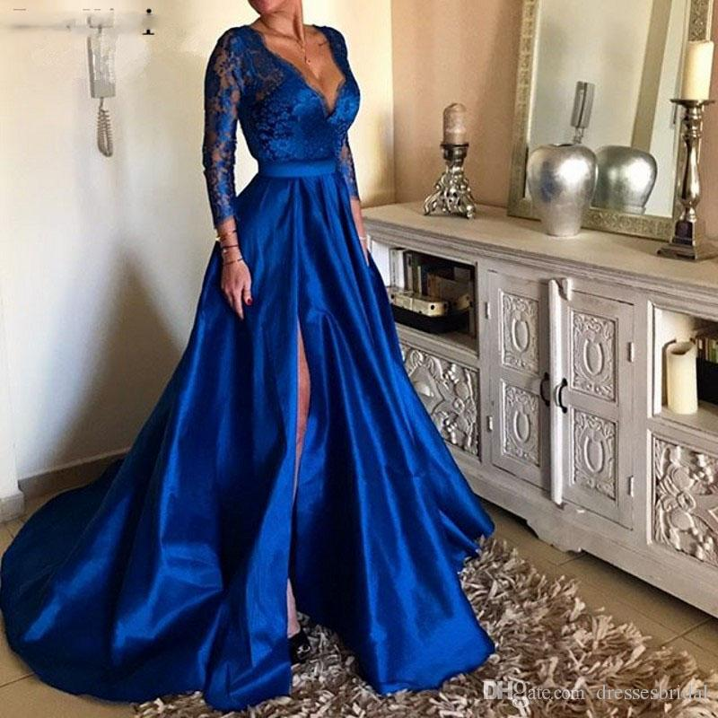 7d7ec60f404 Royal Blue Plus Size Gown Prom Dresses Long Sexy Deep V Neck Lace Sleeve  High Split Illusion Satin Gowns Gala Jurken Black Prom Dresses Uk  Camouflage Prom ...