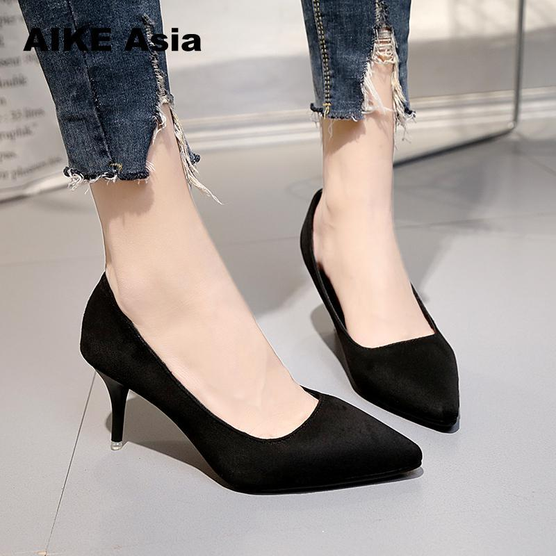 5e691a726f8 Size 33-43 Women S Shoes Pointed Shallow High Heels Spring And ...
