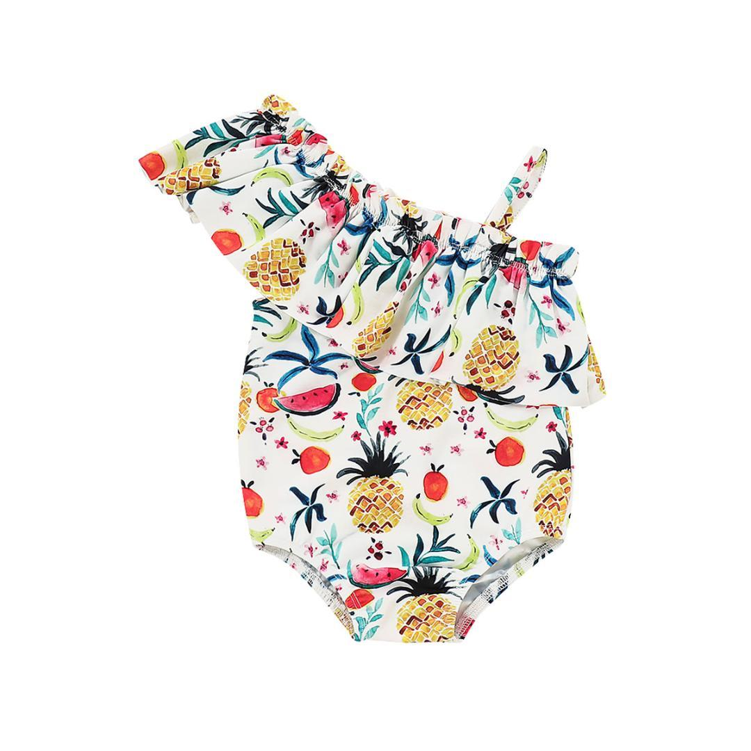 9955b4650e1 2019 2019 Canis Summer Toddler Kids Baby Girls Fruit Print Swimsuit Off  Shoulder Swimwear Tankini Bikini Fruit Bodysuit From Gaozang