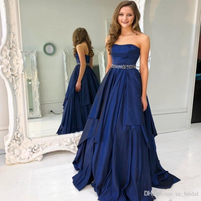 Royal Blue Satin Prom Dresses 2019 Long Sweep Train Backless Formal Dress  Evening Wear Shining Beaded Crystal Plus Size Vestido De Festa Sell My Prom  Dress ... b6434b04b919
