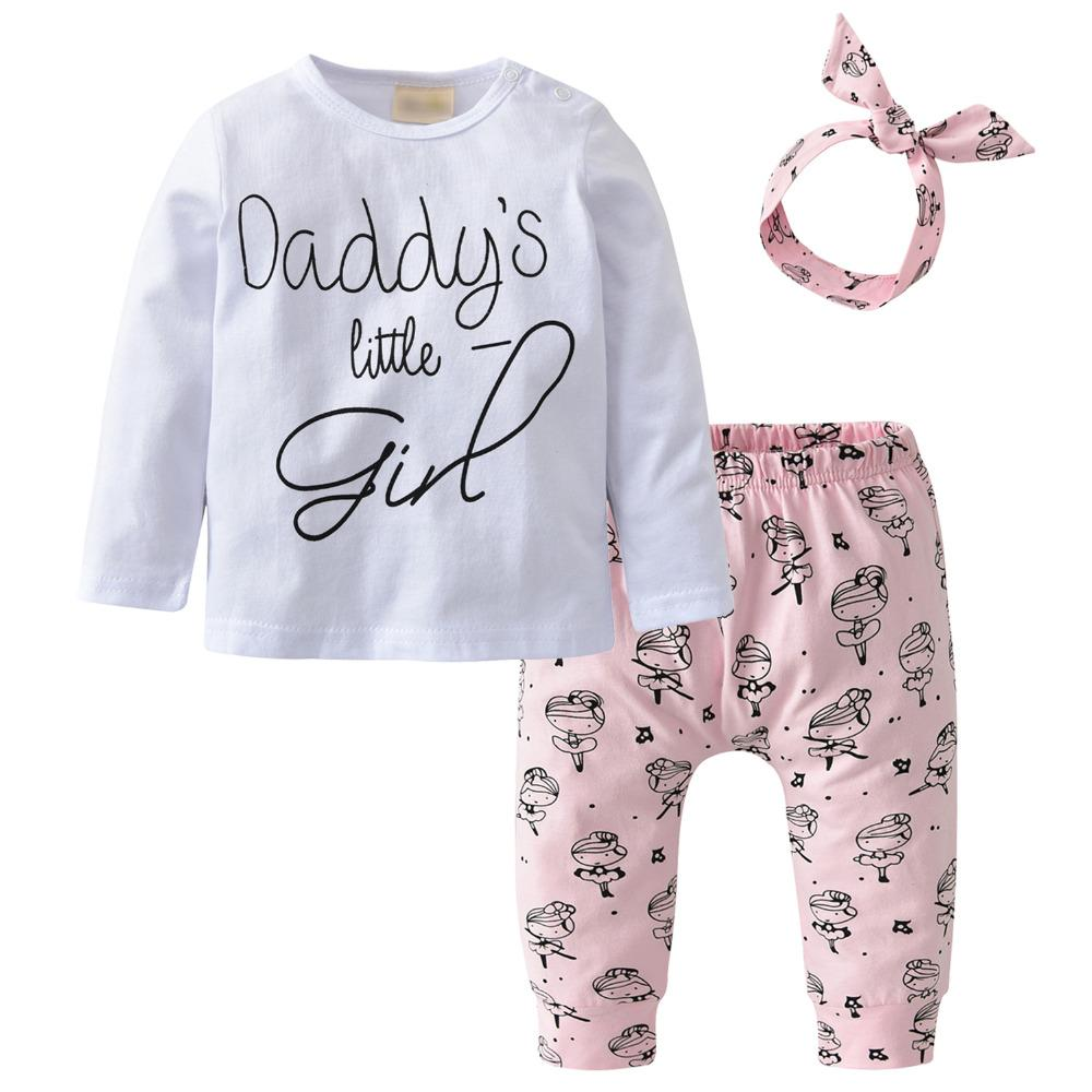 b9ae24484d66e 3Pcs Infant Clothing Set Newborn Baby Girls Clothes Long Sleeve Letter  Daddy's little Girl T-shirt+Pants+Headband Toddler Outfit Y18120303
