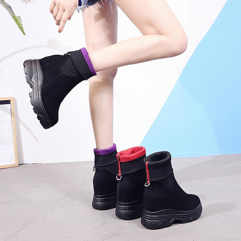 37a21d2a Compre Stovepipe Calcetines Elásticos Botas De Lana Boca Botas Cortas Fondo  Grueso Dentro De Tubo De Medio Aumento De Moda Simple Para Mujer A $61.35  Del ...