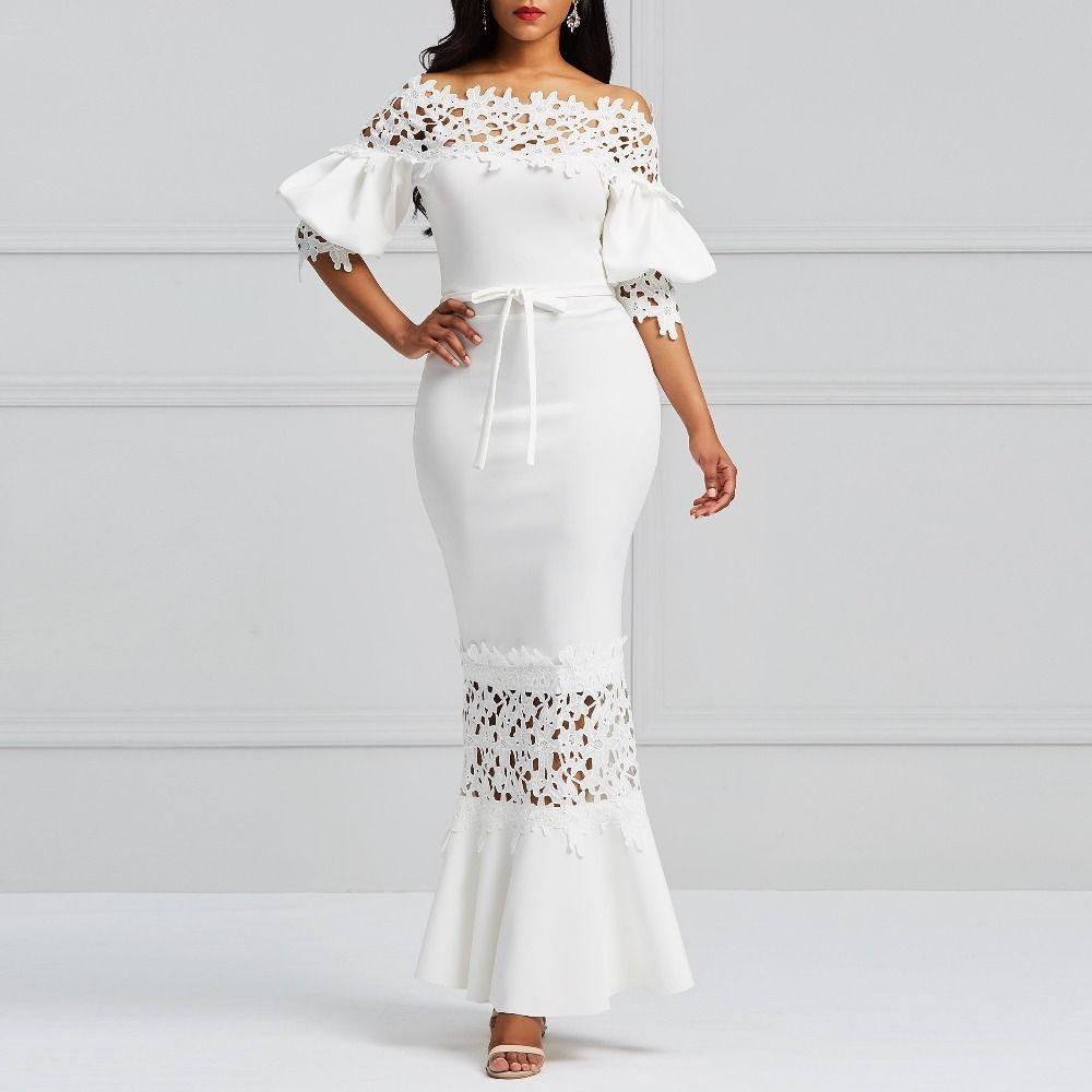 497789c8d93ca Clocolor Elegant Long Dress Women White Lace Slash Neck Mermaid Dresses  Sexy Hollow Lace-up Bodycon Party Maxi Dresses Vestidos Y190415
