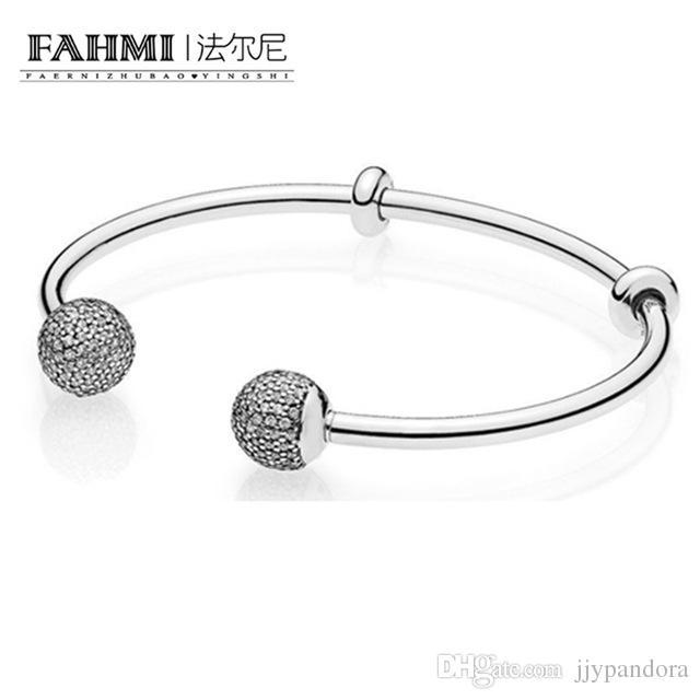 FAHMI The Latest MOMENTS 925 Sterling Silver Double-Headed Beads Pattern Bangle DIY A Bracelet Charms Birthday Gift 596438CZ