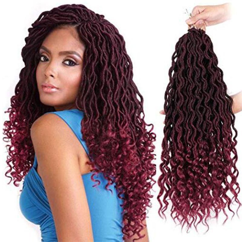 2019 Crochet Braiding Hair Goddess Faux Locs With Curly Crochet