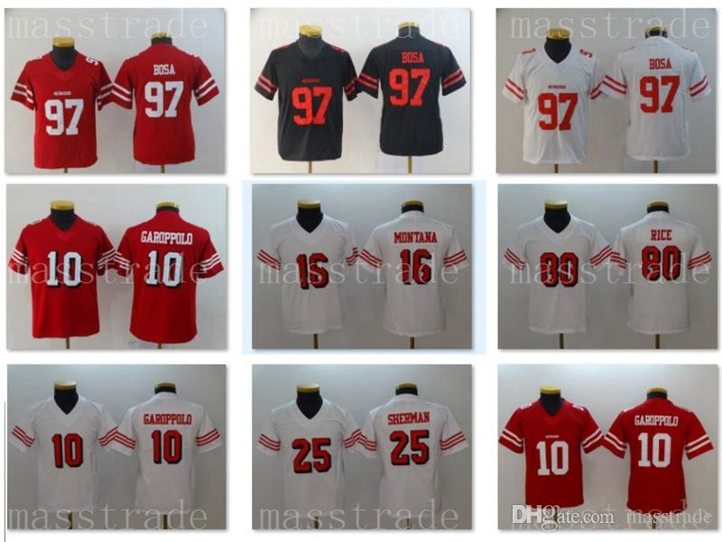 new product c1827 135c5 Youth 49ers Jerseys #97 Nick Bosa 10 Jimmy Garoppolo 80 Jerry Rice 25  Richard Sherman 16 Joe Montana Kids Home Away Jersey