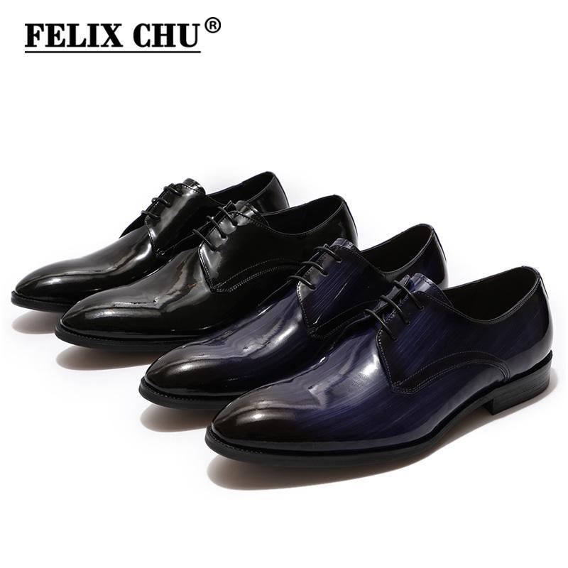 b44e1a1fc9b FELIX CHU Derby Shoes Men Black Blue Patent Leather Plain Toe Wedding Dress  Shoes For Men Lace Up Formal Business Male Casual Shoes For Men Mens Sandals  ...