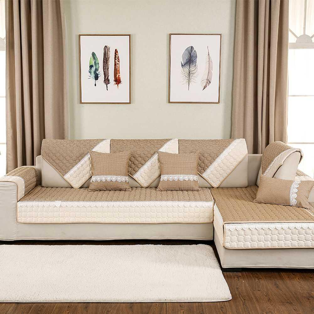 Stylish simplicity Pink cotton sectional sofa cover Four seasons universal  couch covers for sofas Backrest towel pillowcase