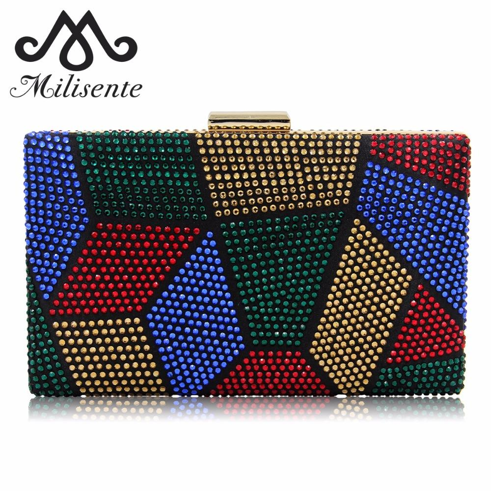 Milisente New Design Women Clutches Purses Ladies Evening Bags Hot-fix Fashion Party Bag Female Wedding Clutch