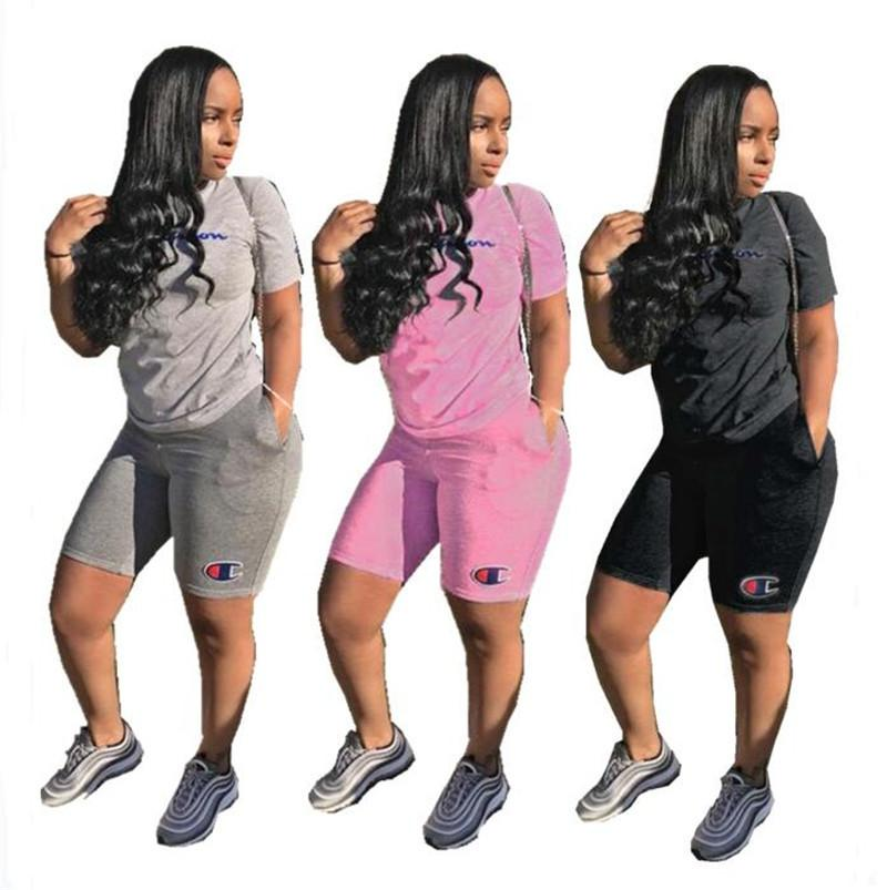 Grosshandel Frauen Champions Shorts Trainingsanzug Kurzarm T Shirt