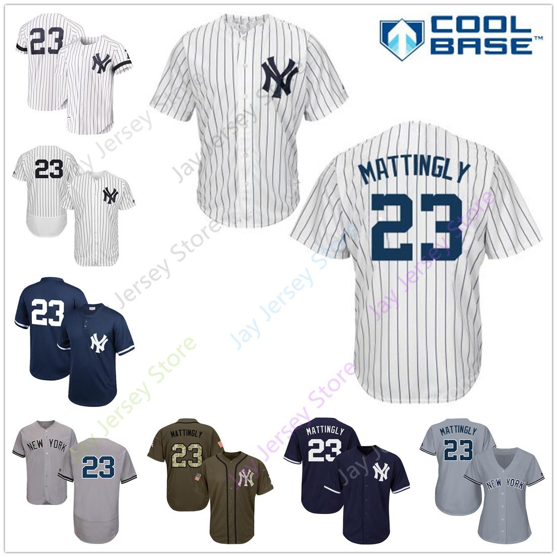san francisco 76dd1 7bcd0 Don Mattingly Jersey 1995 Cooperstown Cool Base Yankees New York Cream  White Pinstripe Grey Black Home Away All Stitched