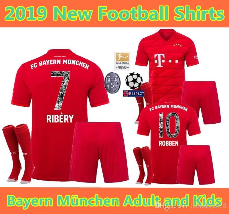 official photos 9e410 85aaa Adult kids kits 2019 2020 Bayern Munich jerseys 19 20 LEWANDOWSKI ROBBEN  TOLISSO THIAGO home soccer jersey JAMES youth Football shirt