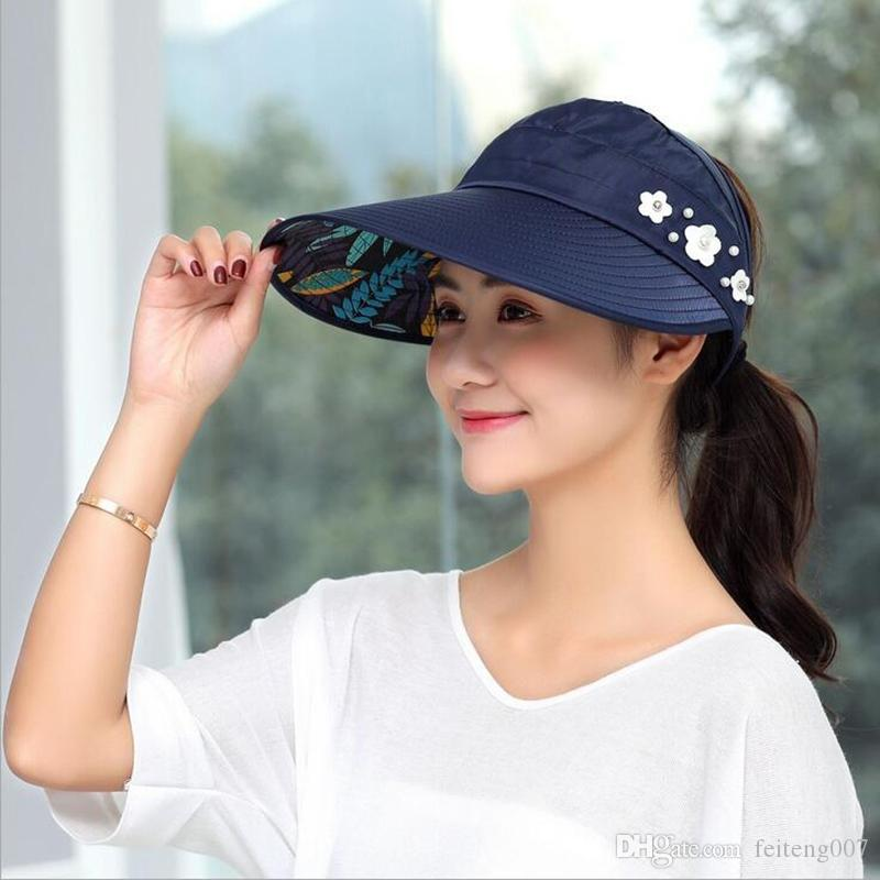 5976df912 1PCS women summer Sun Hats pearl packable sun visor hat with big heads wide  brim beach hat UV protection female cap #47427