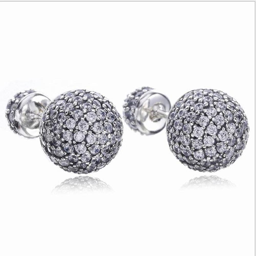 0d5f1f54f Real 925 Silver Pave Drops Stud Earrings, Clear CZ For Fashion Womwn ...