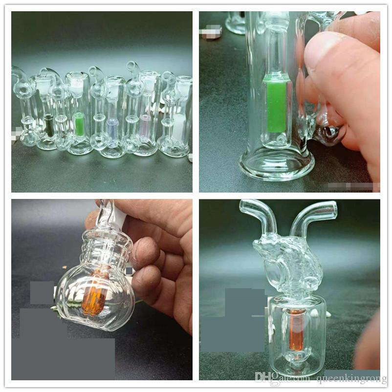 Newest Mini Grenade cicada Pot Glass Bottle Smoking Bong Bubbler Water Pipe Hookahs Tobacco Cigarette Herbal Oil Rig Reclaimer Tools 3 Style