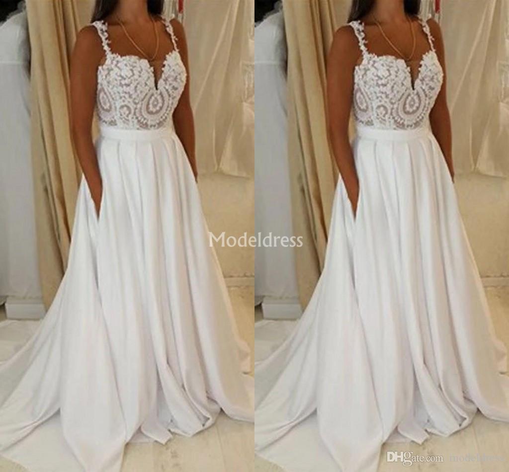 Discount Gorgeous Lace Boho Wedding Dresses Spaghetti
