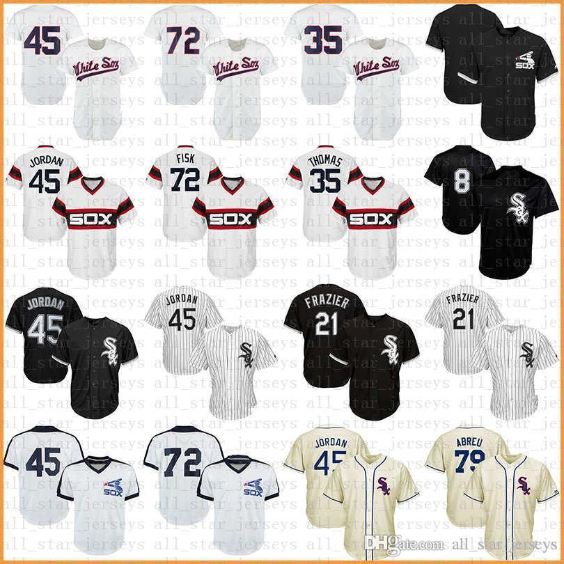 bb13935bf 2019 White Baseball Jersey Sox COOL BASE 8 Bo Jackson 21 Todd Frazier 45  Chicago 72 Carlton Fisk 10 Yoan Moncada 35 Frank Thomas 79 Jose Abreu From  ...