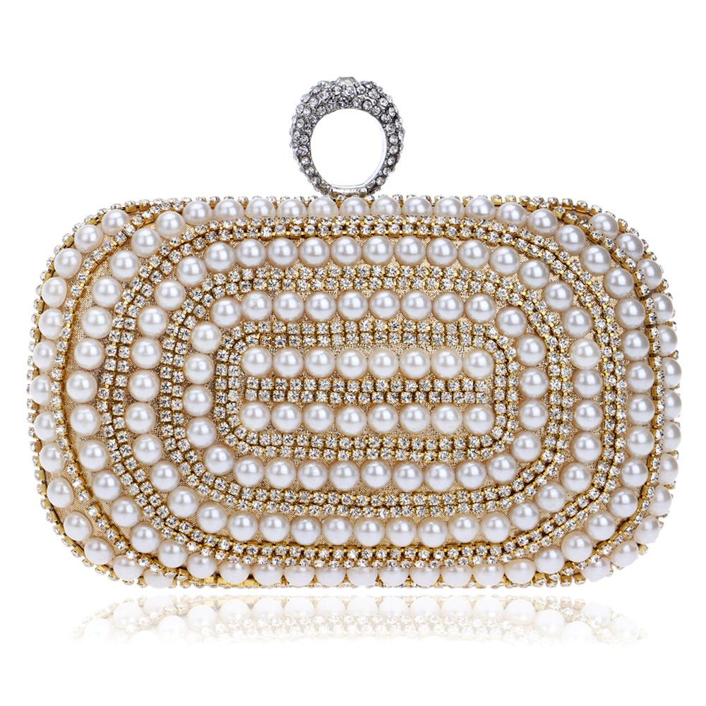 b4265340e173c Beaded Women Evening Bags Diamonds Finger Rings Small Purse Day Clutches  Handbags Silver/Gold/Black Pearl Wedding Bags YM1027 Clutch Purses White  Handbags ...
