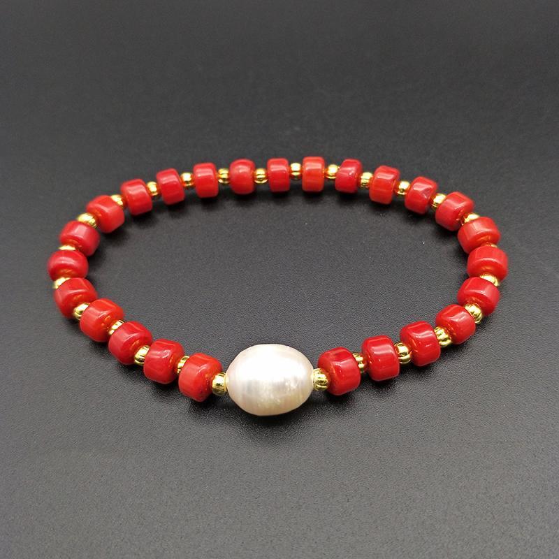 adeab87d29bc Shuangsheng Pulsera de Coral Rojo Natural Perlas de Coral y Perlas de Oro  Joyería de Bohemia con Cuentas Regalos de Mujeres