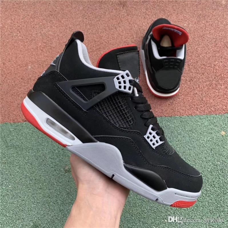 2019 OG 4 Bred Uomo Scarpe da basket 4S Nero Rosso Authentic Sport Sneakers 308497 060 Con scatola originale