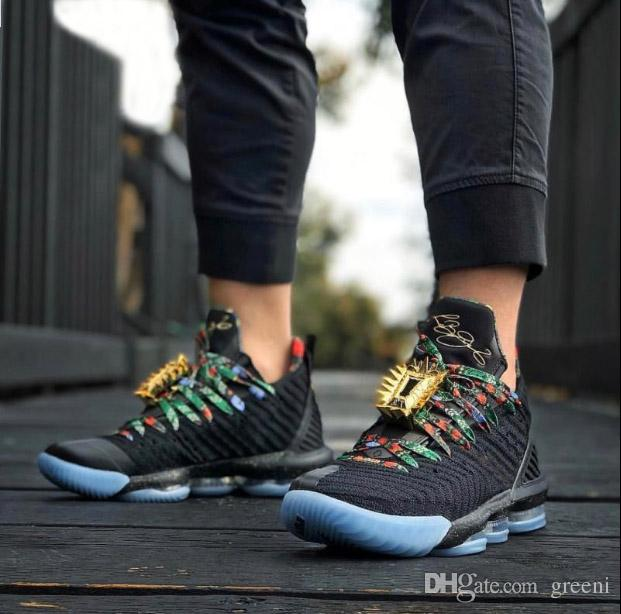 reputable site c491a de627 Men lebron 16 Watch The Throne Basketball Shoes Black Metallic Gold Rose  Frost CI1518-001 Authentic Designer Sports Sneakers With box