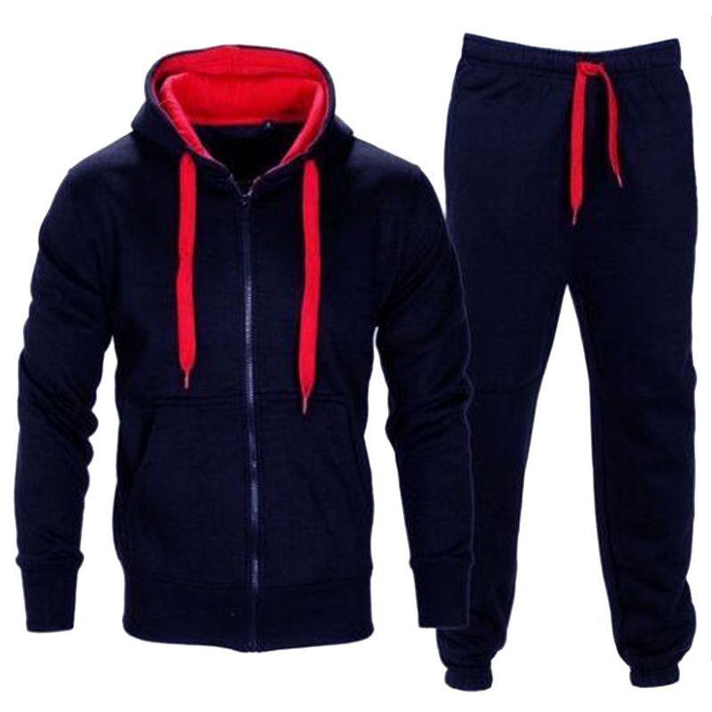 WENYUJH Trainingsanzug Männer 2019 Frühling Sportwear Mode Herren Set 2 STÜCK Reißverschluss Mit Kapuze Sweatshirt Jacke + Hose Moleton Masculino Sets