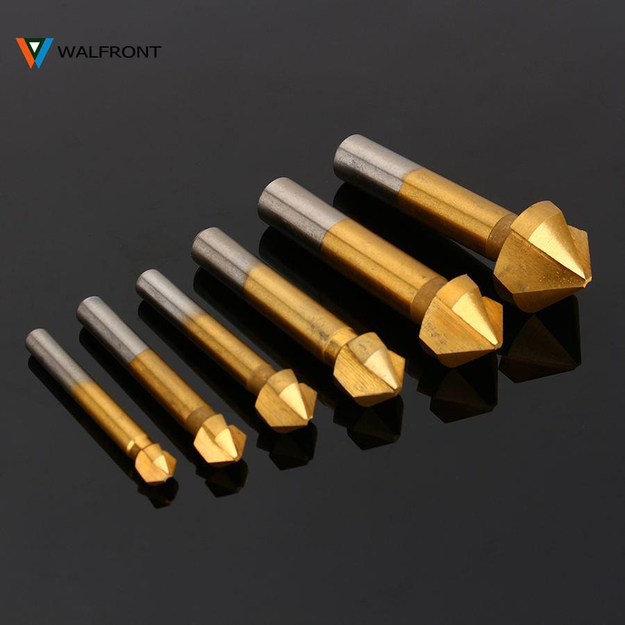Freeshipping 6Pcs Round shank 3 Flute HSS Hard Metal Chamfer Chamfering End Mill Cutter Countersink Drill Bit Milling Cutting Tool