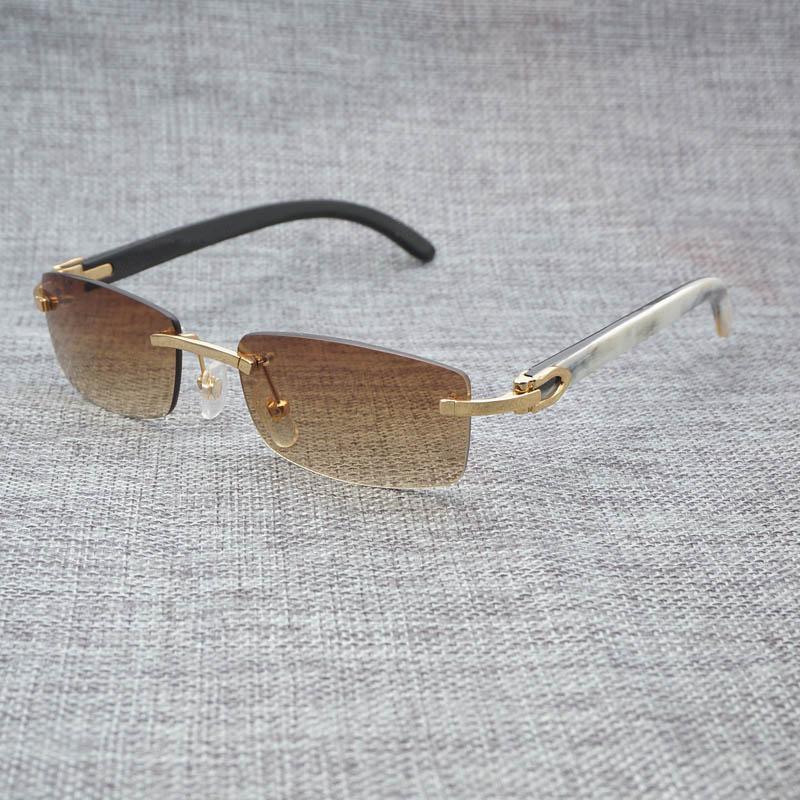 4e1856bfbb Compre Lente Pequeña Vintage Gafas De Sol De Madera Para Hombres Cuerno De  Búfalo Natural Gafas Cuadradas Sin Montura Gafas Oculos Para Sombras Al  Aire ...