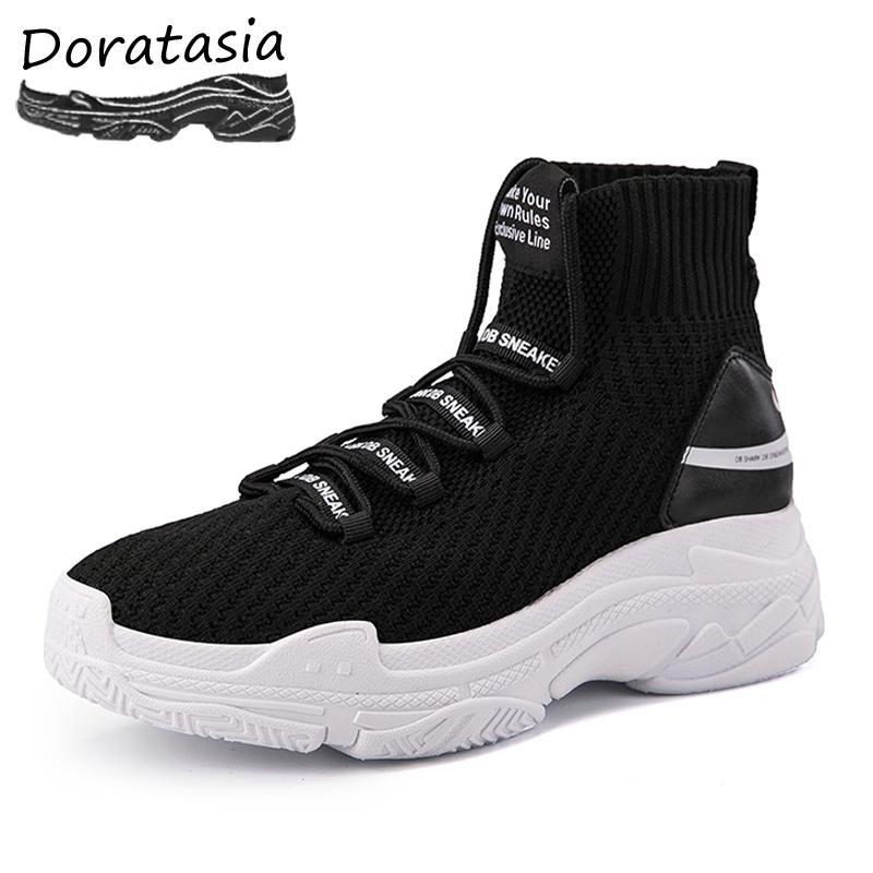 0dc9e83d9ba Compre DORATASIA INS Venta Caliente Zapatos De Papá Elástico Mujer Cartas  Con Cordones Botines De Tobillo De Mujer Alto Top Zapatillas De Deporte De  La ...