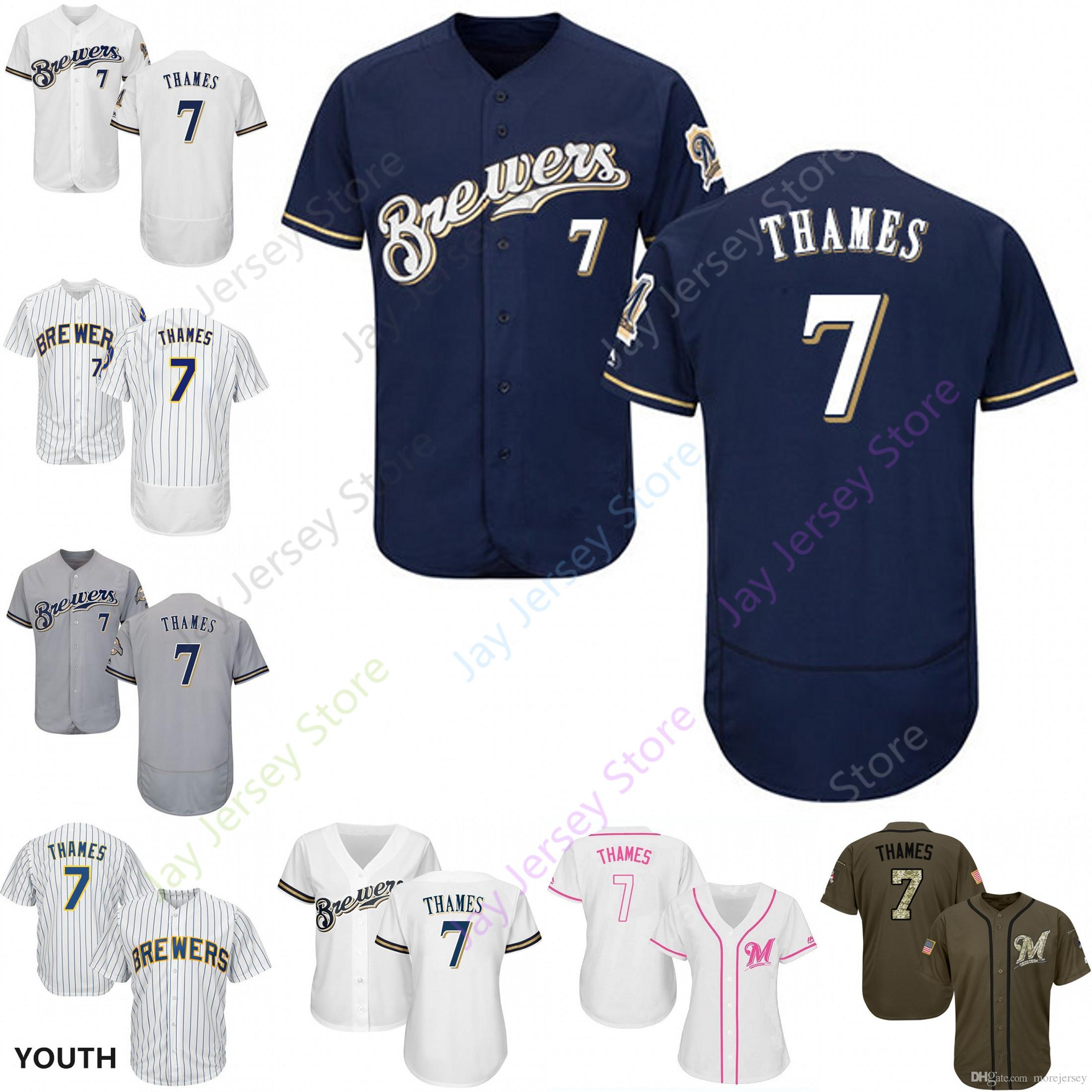 the latest 791ef dfe43 2019 Milwaukee 7 Eric Thames Jersey Brewers Jerseys Cool Base Flexbase Home  Away White Black Red Grey Pullover Button Men Women Youth