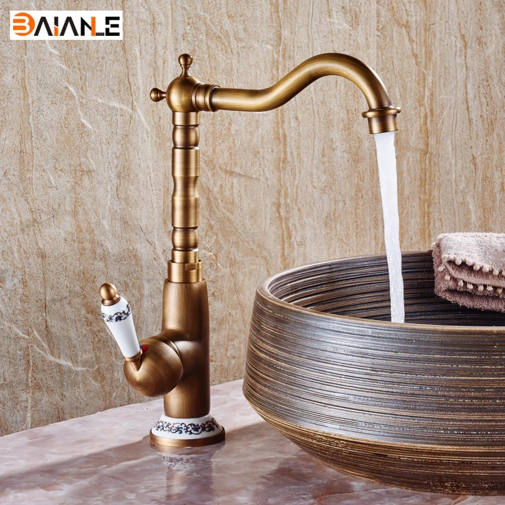 Basin Faucet 360 Swivel Hot and Cold Bathroom Heightening Antique Kitchen Sink Faucets Brass Porcelain Base Mixer Tap