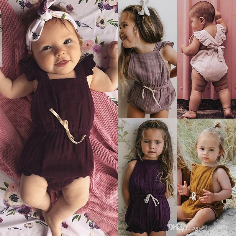 Wholesale 6 Color Cute Baby Girl Ruffle Solid Color Romper Jumpsuit Outfits Sunsuit for Newborn Infant Children Clothes Kid Clothing