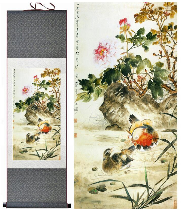 Birds And Flower Art Painting chinese Home Office Decoration Traditional silk scroll art painting