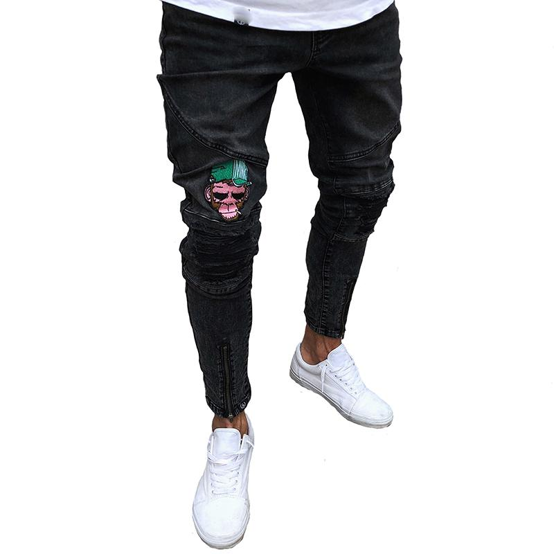 6d7acc0e 2019 Mens Cartoon Denim Jeans Printed Embroidered Pants Destroyed Slim  Trousers Skinny With Black And Lightweight From Blackbirdd, $44.05 |  DHgate.Com
