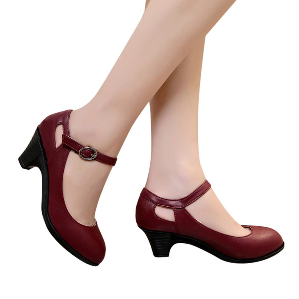 d67f2f1ad7f 2019 New Style Women Ladies Fashion Solid Round Toe Office Lady Square Heel  Buckle Big Size Single Shoes Hot Sale 10 Oxford Shoes Ladies Shoes From  Deals66