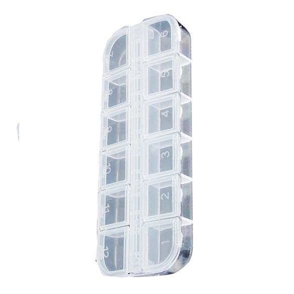 12 Detachable Clear Plastic Rhinestone Nail Art Tools Jewelry Display Storage Box Case Organizer Holder