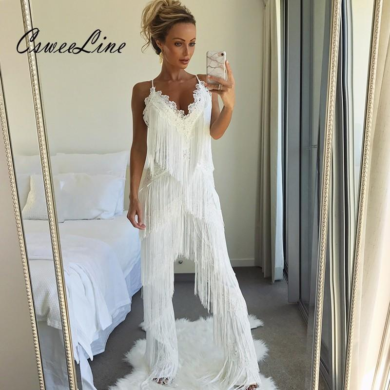 64a200fbfaa5 2019 Long Fringes Rompers Womens Jumpsuit Tassels Sexy White Lace Jumpsuits  Club Party Outfits Fashion Runway Overalls For Women From Raoken