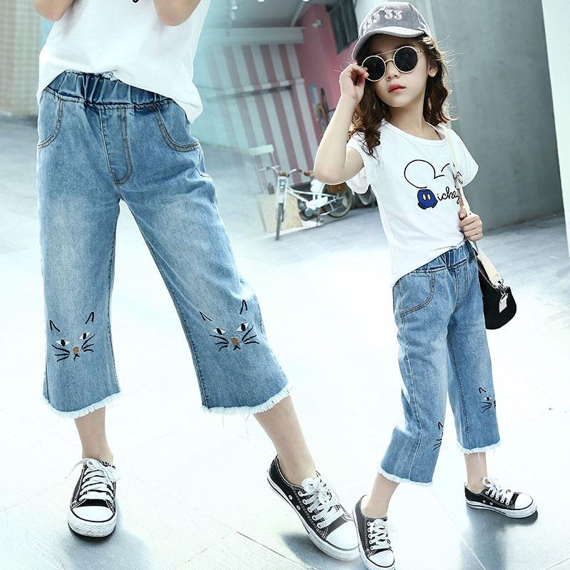 e70e03d90 2019 Summer Teenage Girls Jeans Fille Denim Pants Kids Clothes Age 4 10 12  Years Kids Girls Jeans Trousers Vetement Enfant Fille Jeans For Kids Online  Baby ...