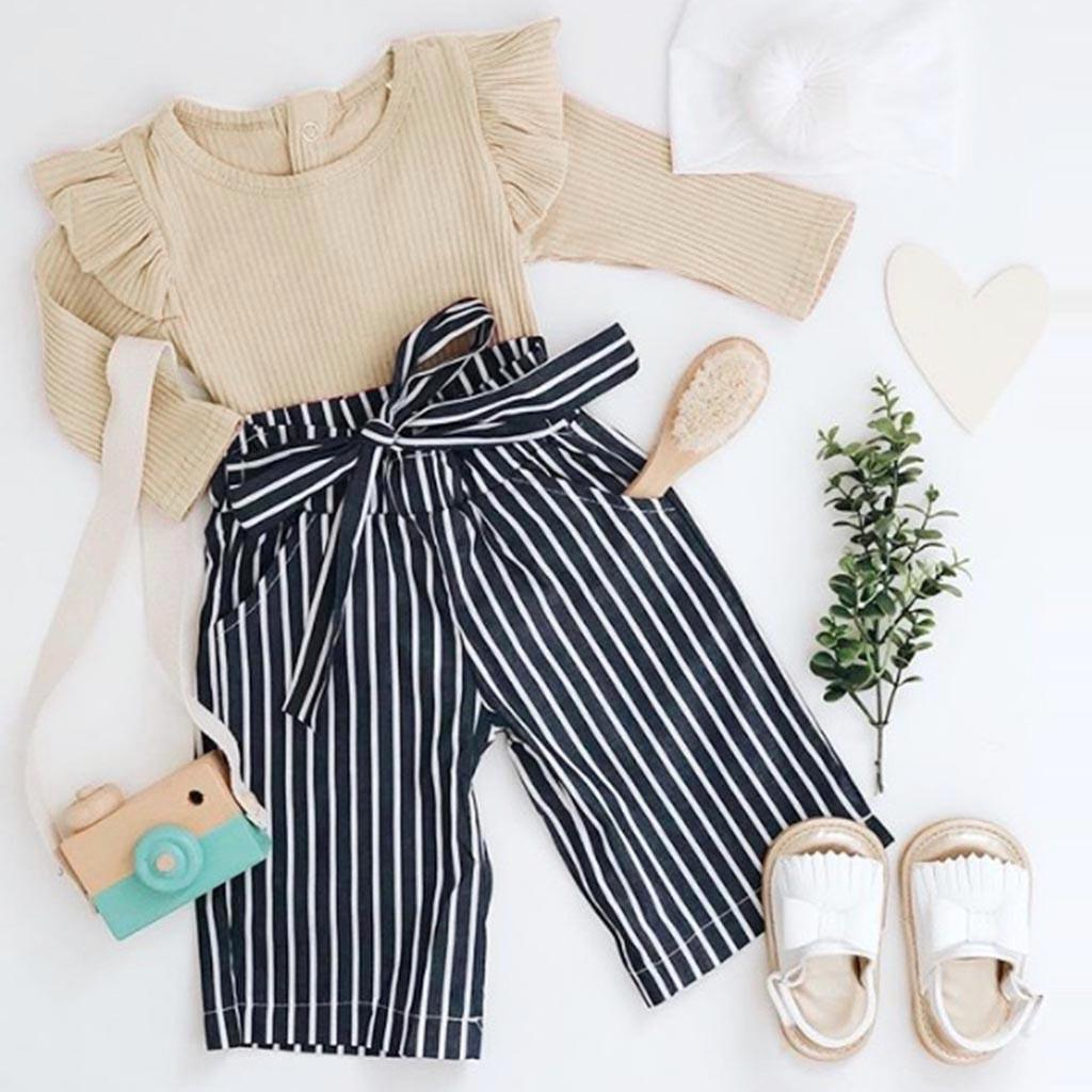 2pcs Newborn Kids Baby Girls Outfits Clothes Solid Color Romper Jumpsuit+striped Pants Casual Set Baby Girl Cute Clothes Set