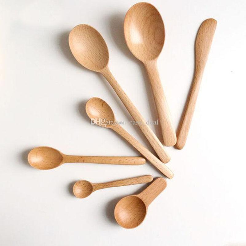 Wooden Spoon Eco-Friendly Natural Beech Long Handle Salad Mixing Spoon Ice Cream Scoop Butter Knife Tableware QW9784