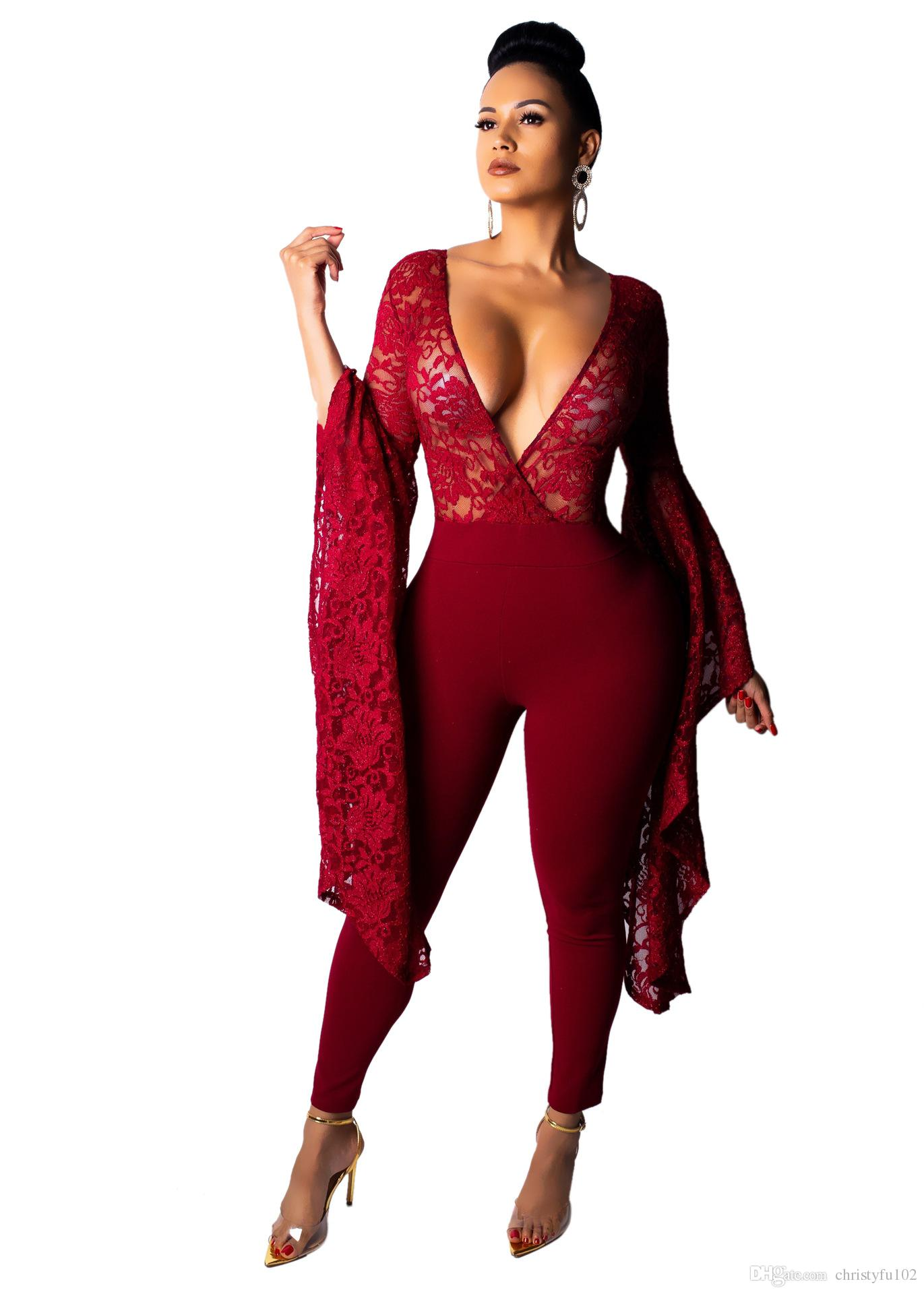 a3cbd3e662f 2019 2019 Women S New Fashion Sexy Lace Over Size Jumpsuits Ladies Night  Club Winter Vestidos Rompers Party High Street Wide Sleeves Playsuits From  ...