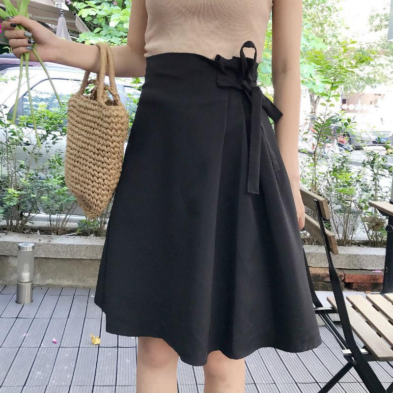 7d1d2e6bc9 Compre Las Mujeres Del Verano Con Cordones Faldas Mujer Sólido De Cintura  Alta Falda Midi Moda Faldas Mujer Moda Estilo Coreano Una Línea Falda Ropa  De ...
