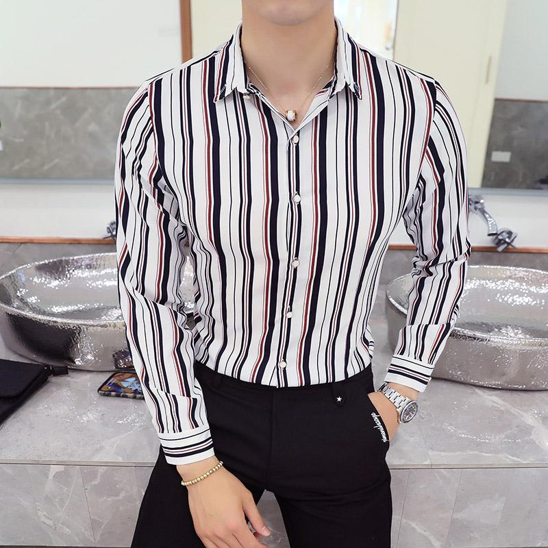 2a655cbaa45c 2019 2018 New Long Sleeved Stripe Men Shirt Korean Fashion Casual Slim Fit  Male Business Shirt Temperament Soft Plus Size From Kennethy, $36.44 |  DHgate.Com