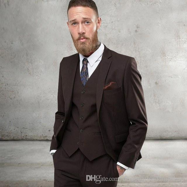 New Style Groom Tuxedos Two Button Brown Notch Lapel Groomsmen Wedding Mens Blazer Party Suits (Jacket+Pants+Vest+Tie) J709