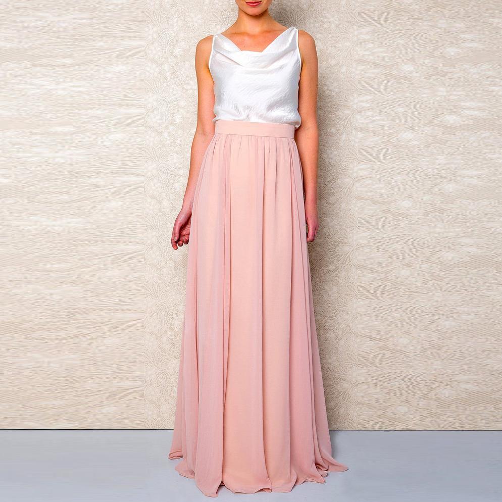 3b33ee7a2 Modesto color coral gasa faldas largas para las mujeres cremallera de alta  calidad para mujer adulta falda a dama de honor por encargo Saias Y19043002