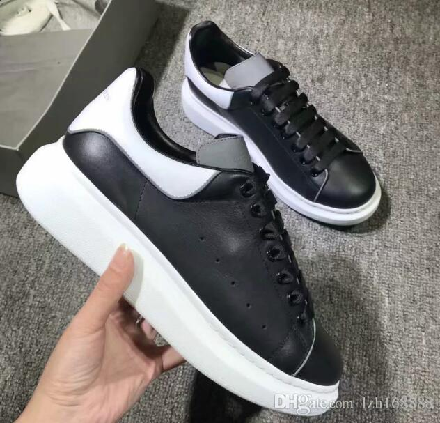 2019 New Season Designer Shoes Fashion Luxury Women Scarpe da uomo in pelle Lace Up Platform Sneakers suola oversize bianco nero scarpe casual