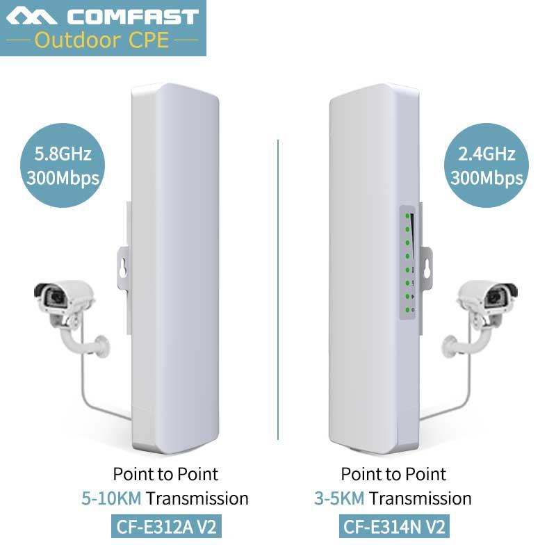 2PCS Wireless Bridge Router 300mbps 5G/ 2 4G Outdoor CPE Wireless Long  Range POE Adapter For Elevator monitoring Camera